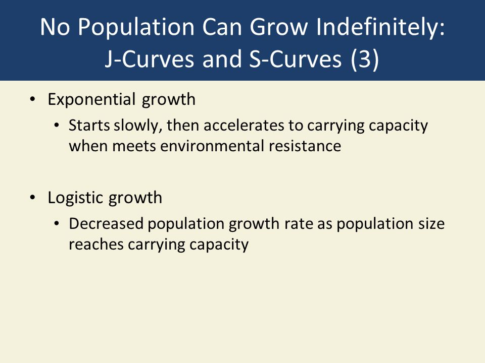 No Population Can Grow Indefinitely: J-Curves and S-Curves (3) Exponential growth Starts slowly, then accelerates to carrying capacity when meets environmental resistance Logistic growth Decreased population growth rate as population size reaches carrying capacity