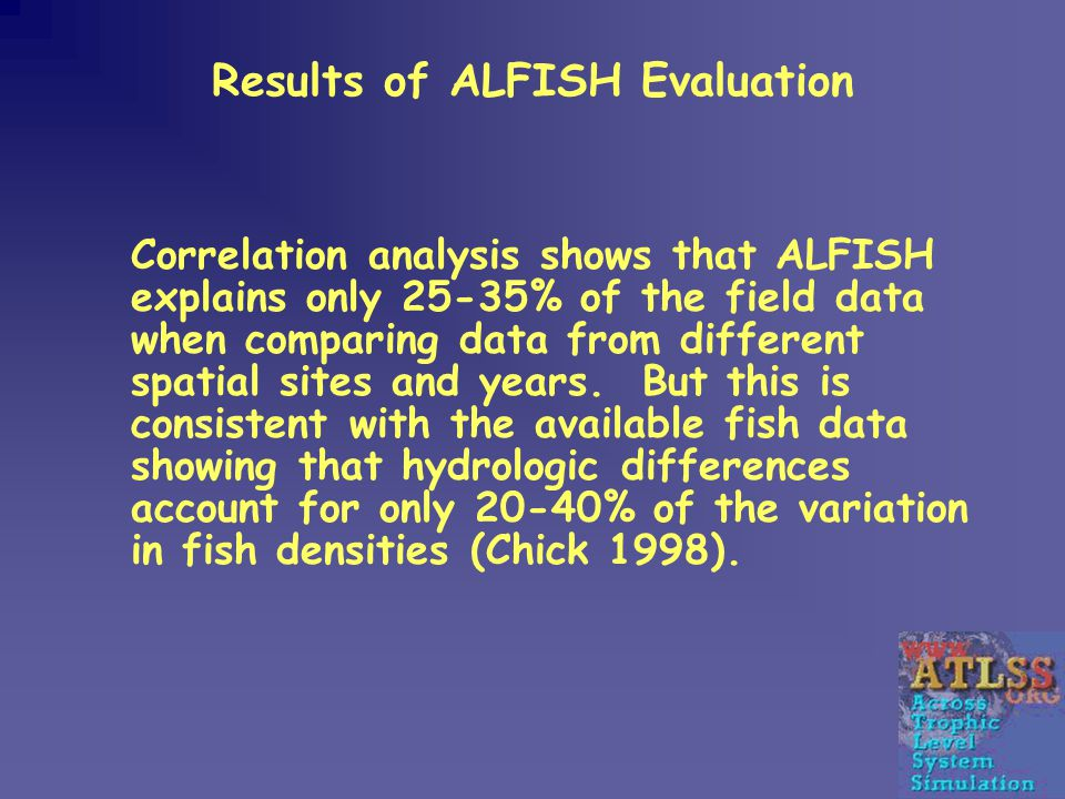 Results of ALFISH Evaluation Correlation analysis shows that ALFISH explains only 25-35% of the field data when comparing data from different spatial sites and years.