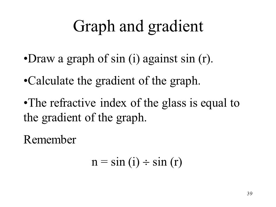 39 Graph and gradient Draw a graph of sin (i) against sin (r). Calculate the gradient of the graph. The refractive index of the glass is equal to the