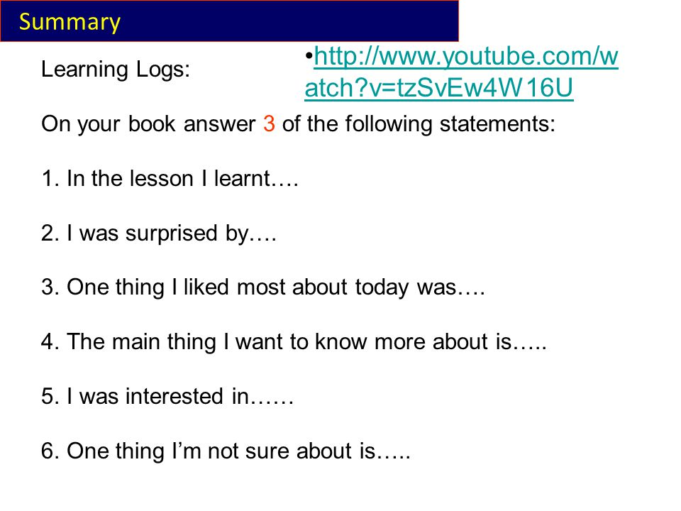 Summary Learning Logs: On your book answer 3 of the following statements: 1.In the lesson I learnt….