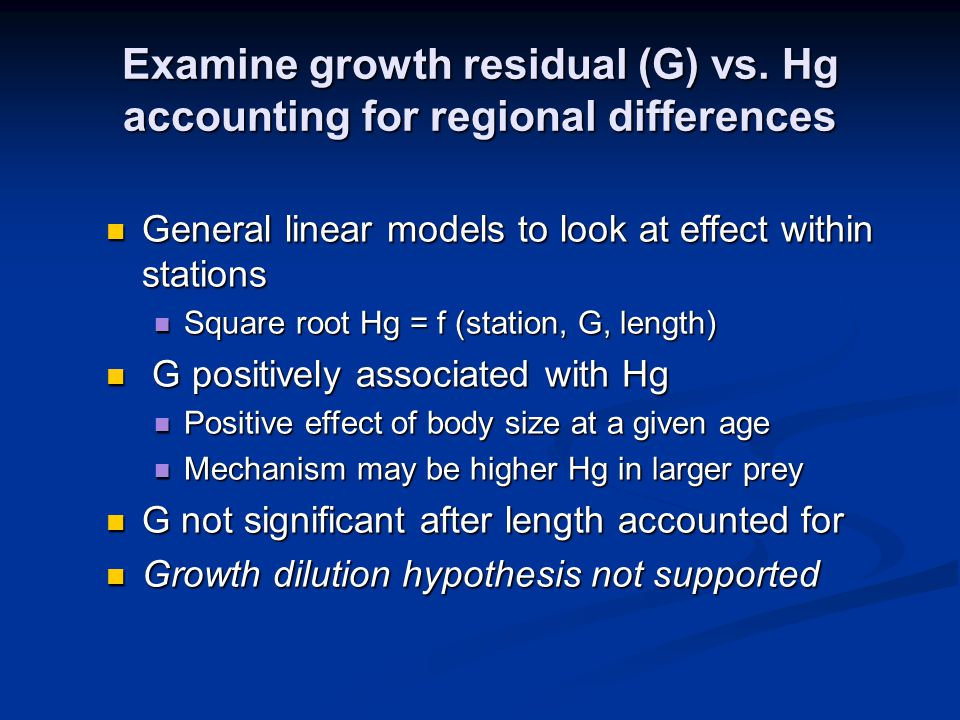 Examine growth residual (G) vs.