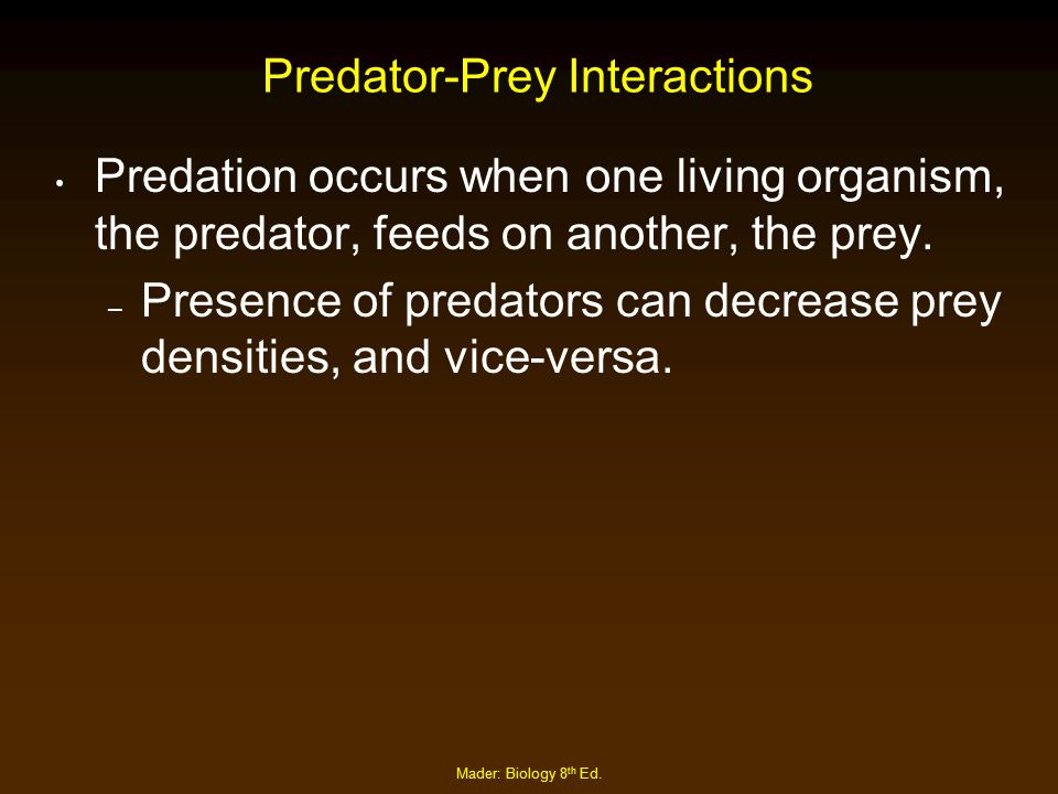 Mader: Biology 8 th Ed. Predator-Prey Interactions Predation occurs when one living organism, the predator, feeds on another, the prey. – Presence of