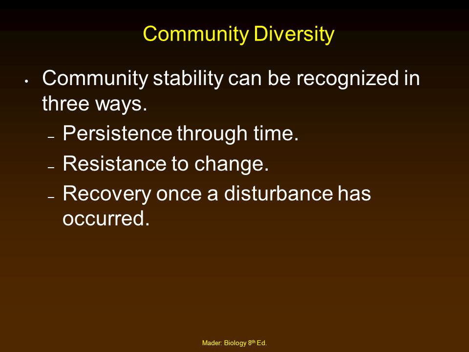 Mader: Biology 8 th Ed. Community Diversity Community stability can be recognized in three ways. – Persistence through time. – Resistance to change. –