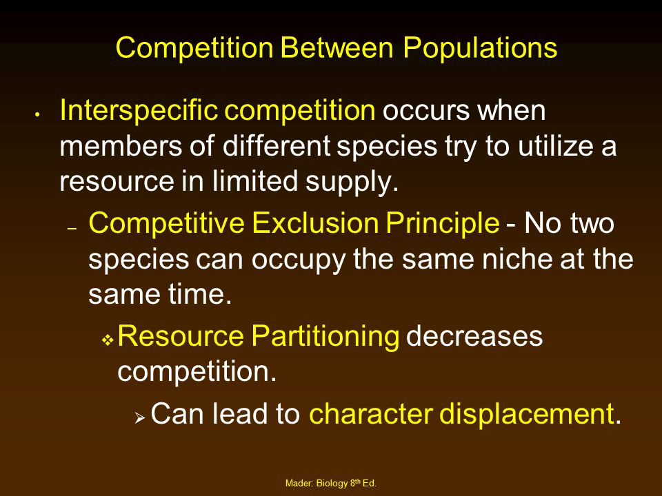 Mader: Biology 8 th Ed. Competition Between Populations Interspecific competition occurs when members of different species try to utilize a resource i