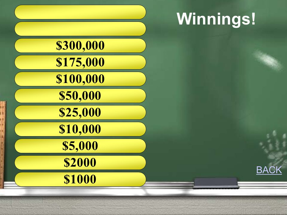 Winnings! $175,000 $100,000 $25,000 $10,000 $5,000 $2000 $1000 $50,000 BACK
