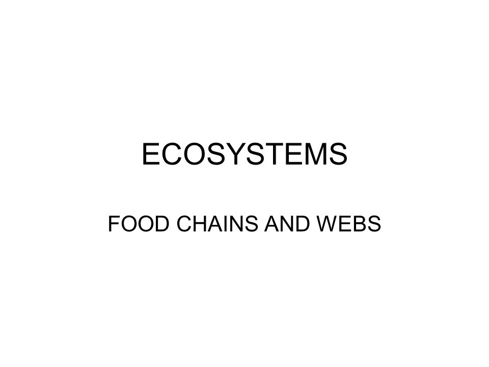 ECOSYSTEMS FOOD CHAINS AND WEBS
