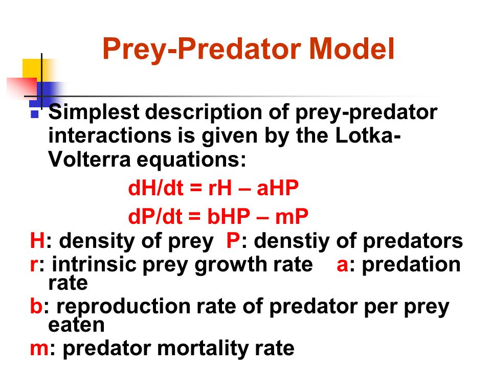 Prey-Predator Model Simplest description of prey-predator interactions is given by the Lotka- Volterra equations: dH/dt = rH – aHP dP/dt = bHP – mP H: density of preyP: denstiy of predators r: intrinsic prey growth rate a: predation rate b: reproduction rate of predator per prey eaten m: predator mortality rate