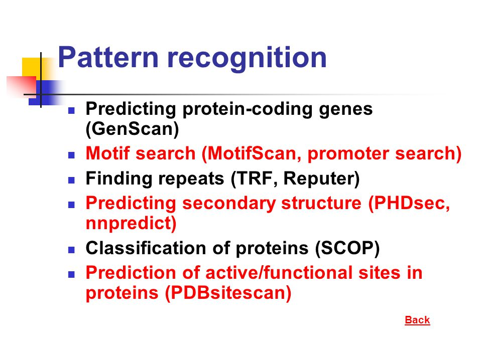 Pattern recognition Predicting protein-coding genes (GenScan) Motif search (MotifScan, promoter search) Finding repeats (TRF, Reputer) Predicting seco