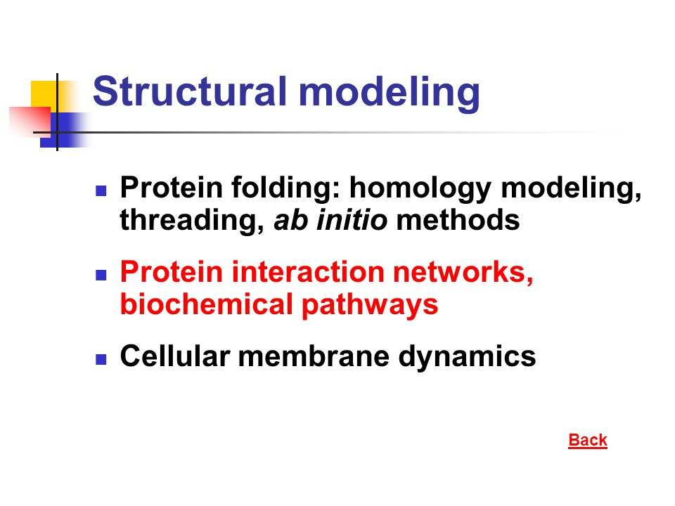 Structural modeling Protein folding: homology modeling, threading, ab initio methods Protein interaction networks, biochemical pathways Cellular membr