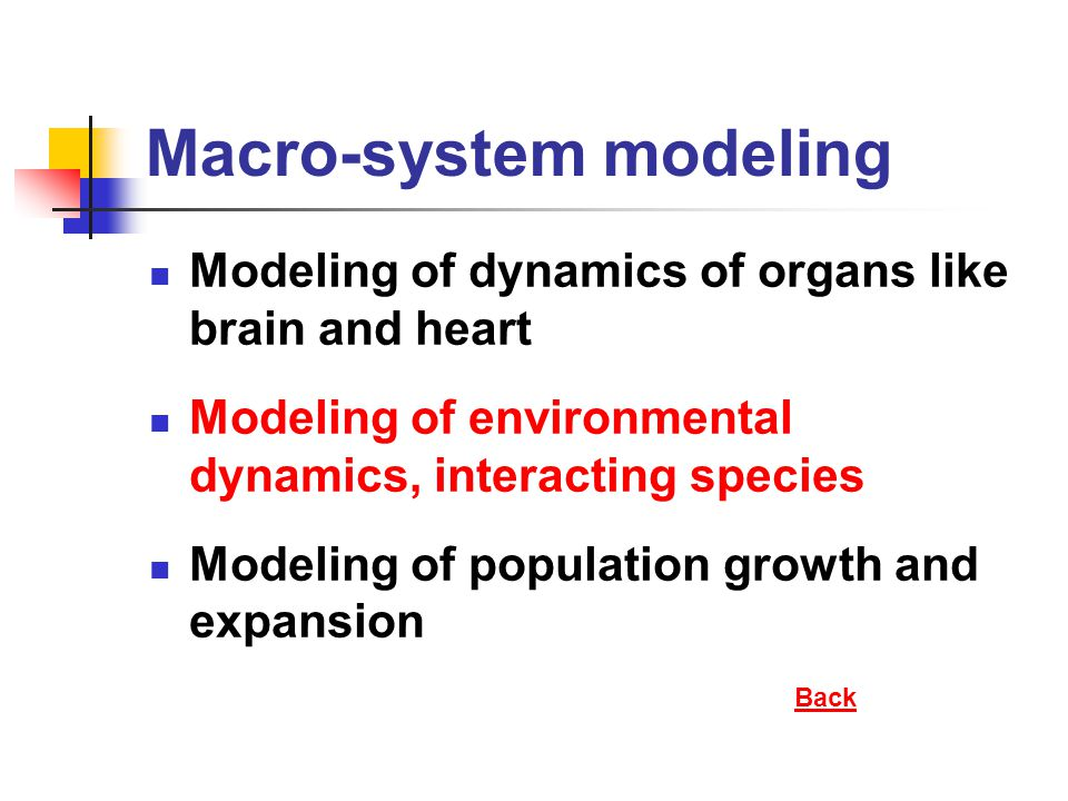 Macro-system modeling Modeling of dynamics of organs like brain and heart Modeling of environmental dynamics, interacting species Modeling of populati