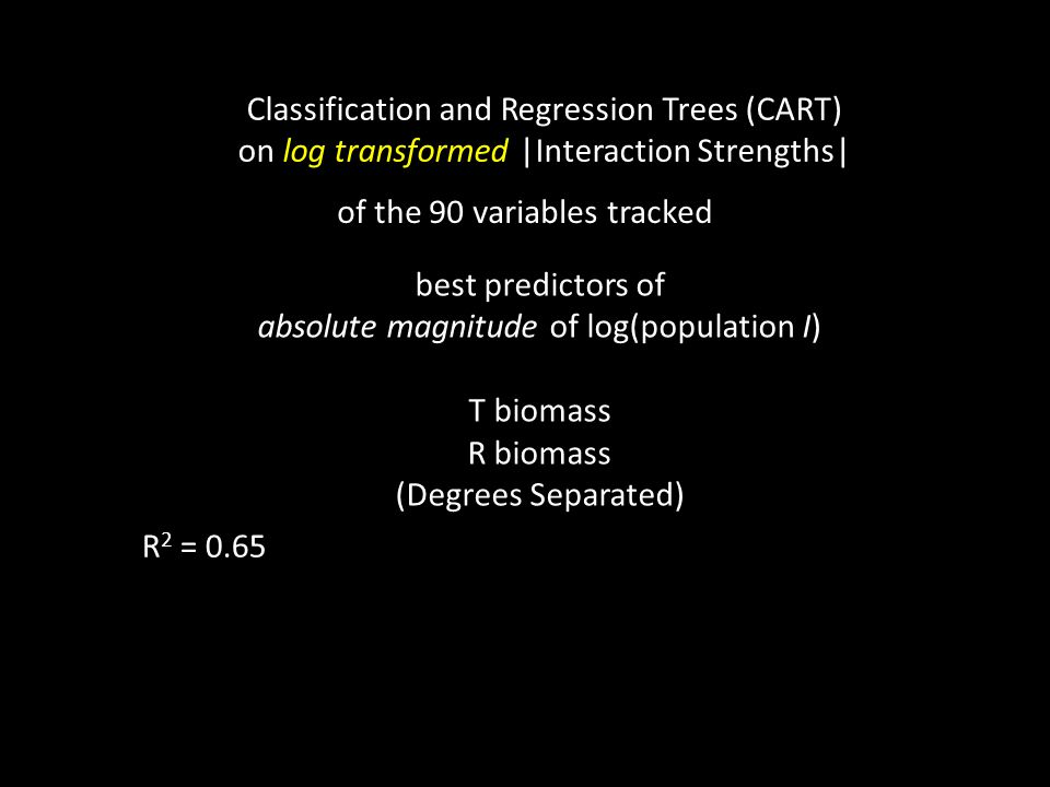 Classification and Regression Trees (CART) on log transformed |Interaction Strengths| best predictors of absolute magnitude of log(population I) T biomass R biomass (Degrees Separated) of the 90 variables tracked R 2 = 0.65
