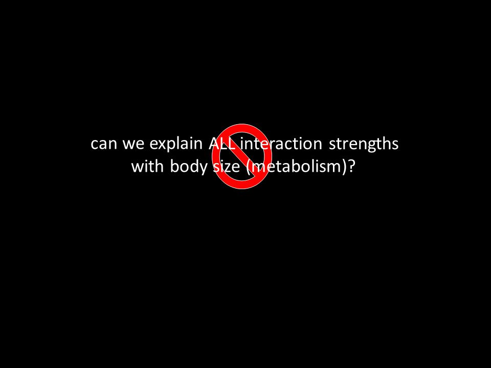 can we explain with body size (metabolism) ALL interaction strengths