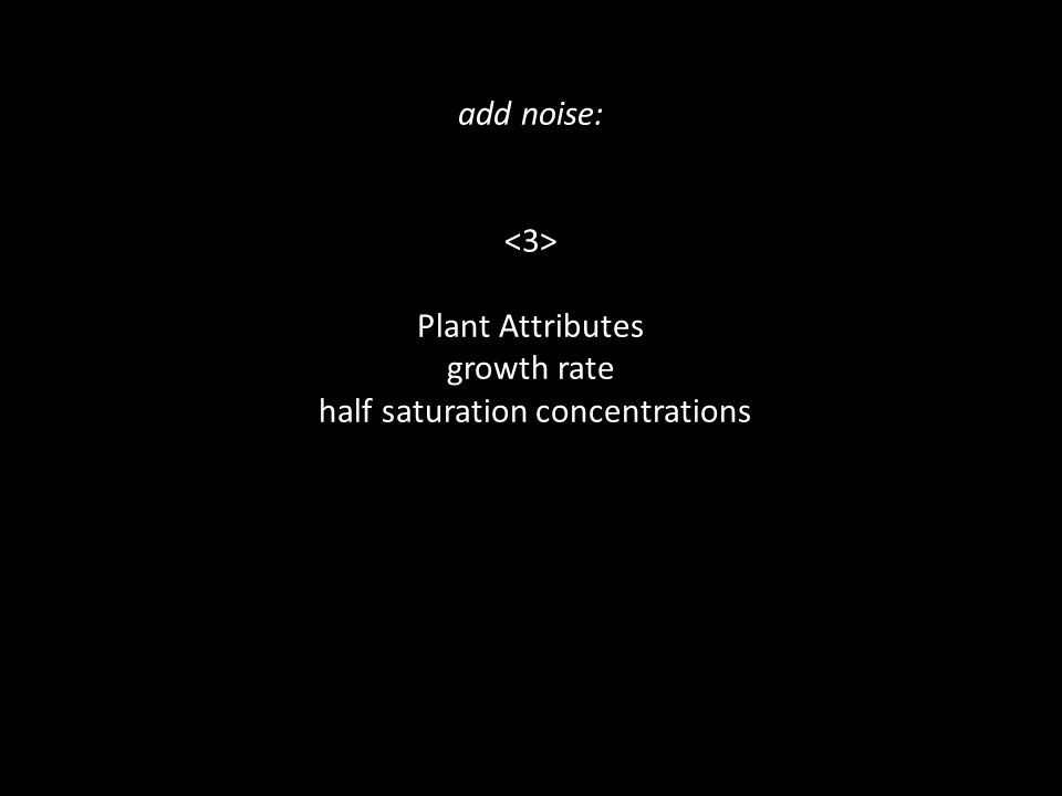 add noise: Plant Attributes growth rate half saturation concentrations