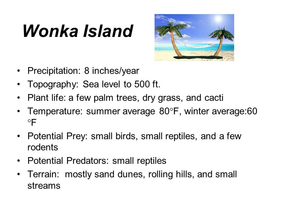 Wonka Island Precipitation: 8 inches/year Topography: Sea level to 500 ft.