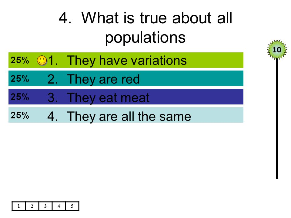4. What is true about all populations 1.They have variations 2.They are red 3.They eat meat 4.They are all the same 12345 10