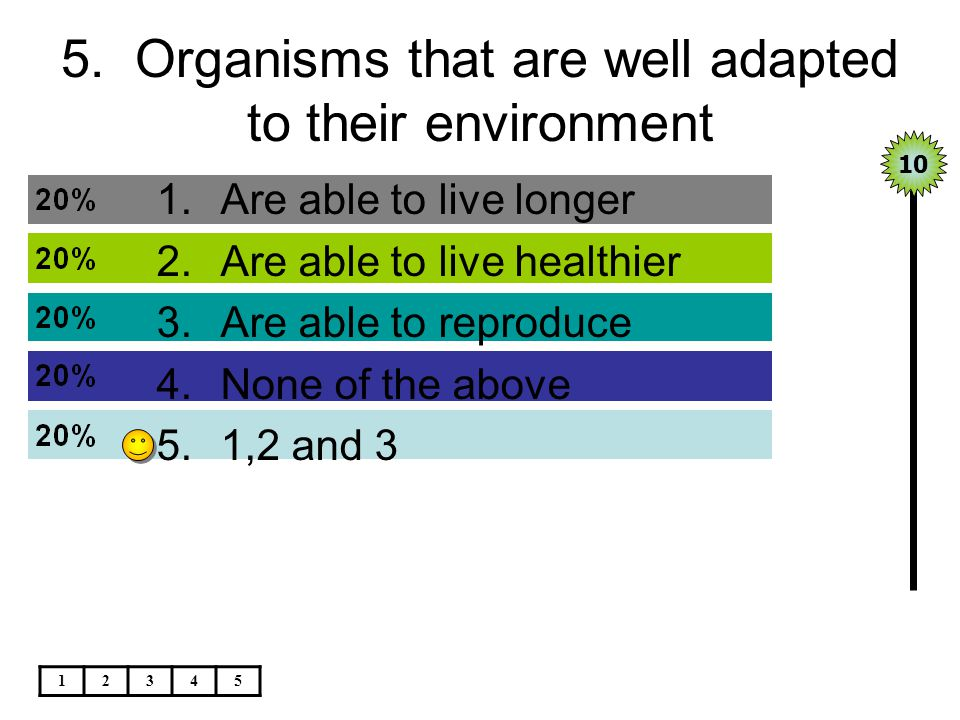 5. Organisms that are well adapted to their environment 1.Are able to live longer 2.Are able to live healthier 3.Are able to reproduce 4.None of the a
