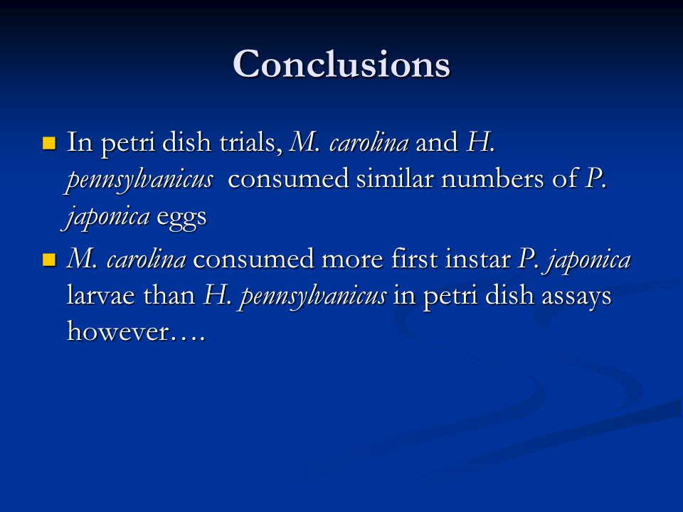 Conclusions In petri dish trials, M. carolina and H.