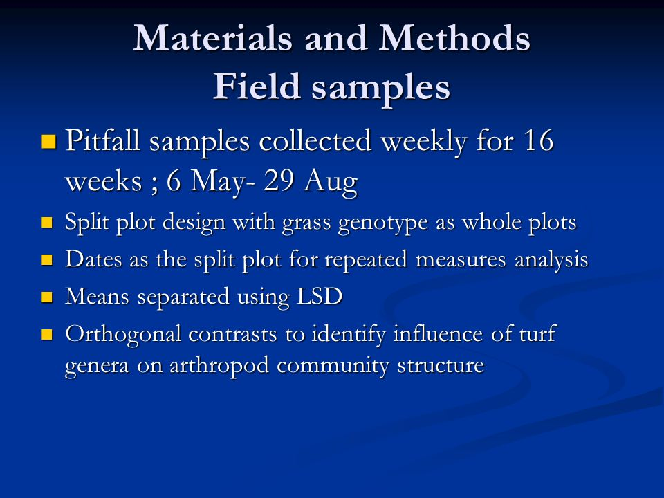 Materials and Methods Field samples Pitfall samples collected weekly for 16 weeks ; 6 May- 29 Aug Pitfall samples collected weekly for 16 weeks ; 6 May- 29 Aug Split plot design with grass genotype as whole plots Split plot design with grass genotype as whole plots Dates as the split plot for repeated measures analysis Dates as the split plot for repeated measures analysis Means separated using LSD Means separated using LSD Orthogonal contrasts to identify influence of turf genera on arthropod community structure Orthogonal contrasts to identify influence of turf genera on arthropod community structure