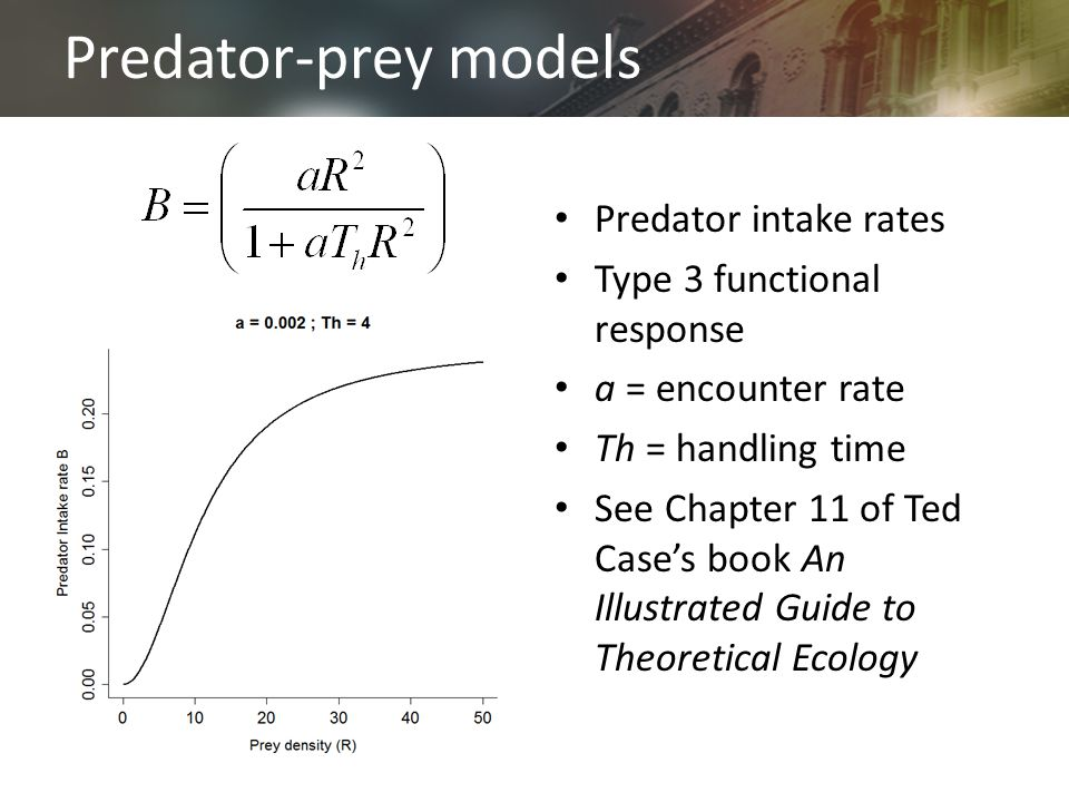 Predator-prey models Predator intake rates Type 3 functional response a = encounter rate Th = handling time See Chapter 11 of Ted Case's book An Illustrated Guide to Theoretical Ecology