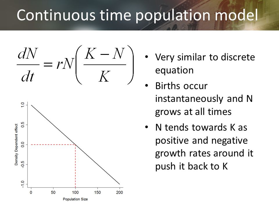 Continuous time population model Very similar to discrete equation Births occur instantaneously and N grows at all times N tends towards K as positive and negative growth rates around it push it back to K