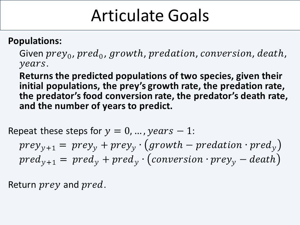 Articulate Goals