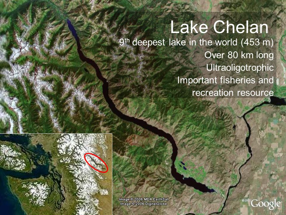 Lake Chelan 9 th deepest lake in the world (453 m) Over 80 km long Ultraoligotrophic Important fisheries and recreation resource