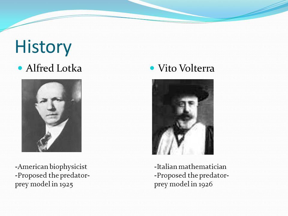 History Alfred Lotka Vito Volterra -American biophysicist -Proposed the predator- prey model in 1925 -Italian mathematician -Proposed the predator- prey model in 1926