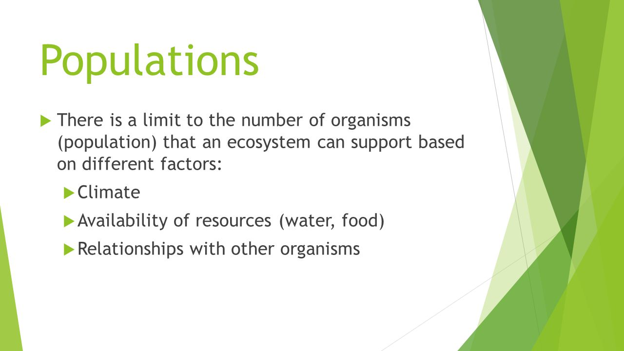 Populations  There is a limit to the number of organisms (population) that an ecosystem can support based on different factors:  Climate  Availability of resources (water, food)  Relationships with other organisms