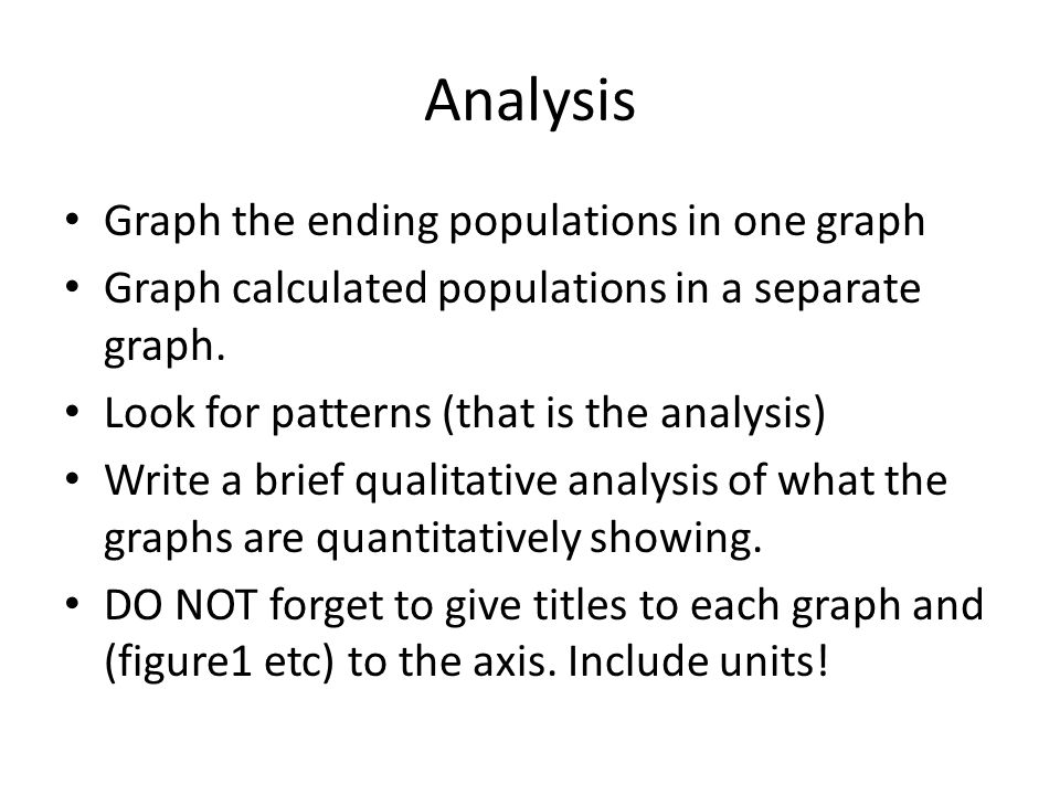 Analysis Graph the ending populations in one graph Graph calculated populations in a separate graph. Look for patterns (that is the analysis) Write a