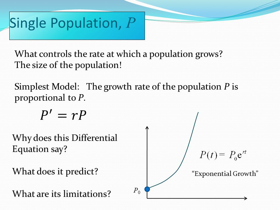 Single Population, P Why does this Differential Equation say.