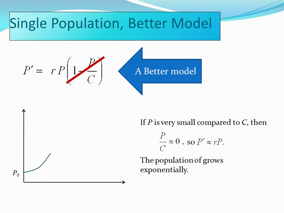 If P is very small compared to C, then The population of grows exponentially.