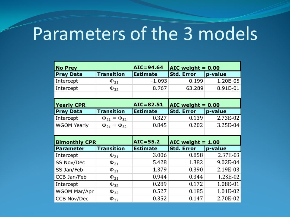 Parameters of the 3 models