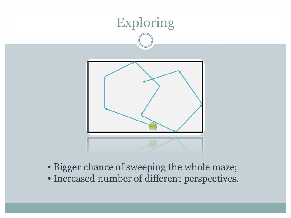 Exploring Bigger chance of sweeping the whole maze; Increased number of different perspectives.