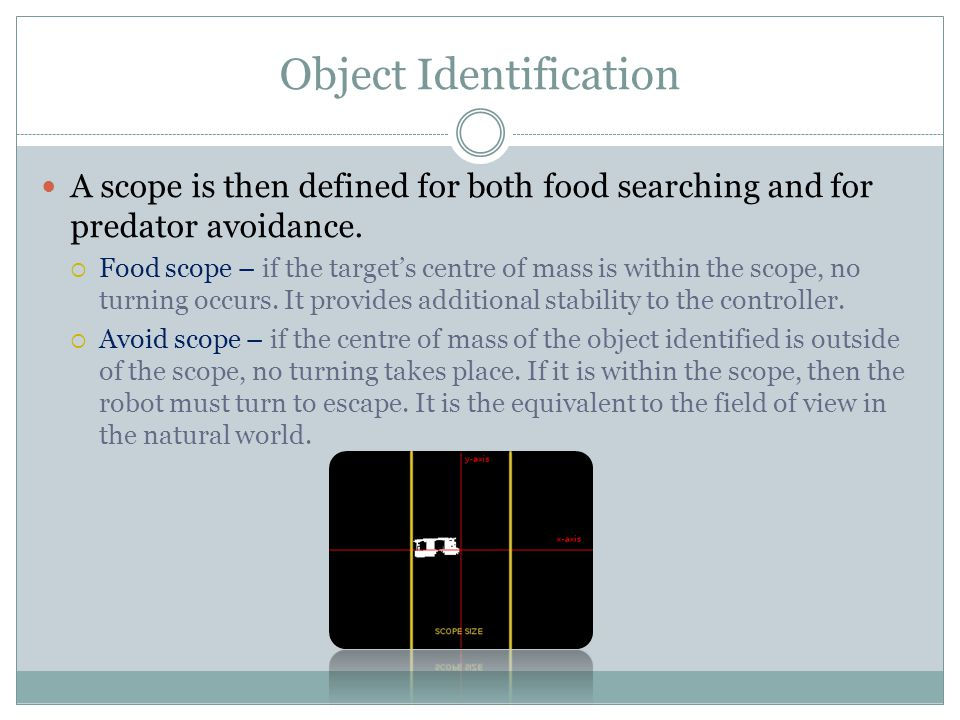 A scope is then defined for both food searching and for predator avoidance.