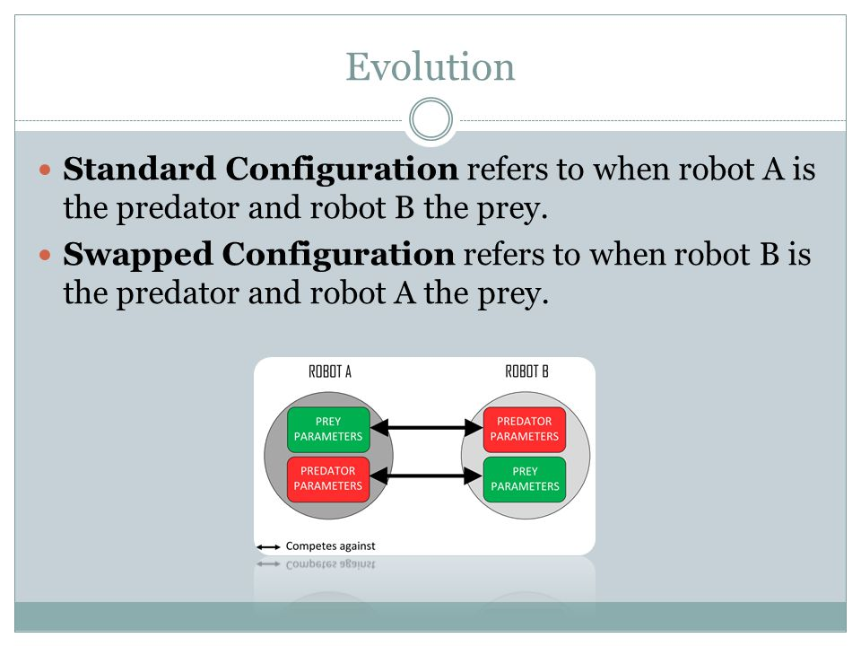 Evolution Standard Configuration refers to when robot A is the predator and robot B the prey.