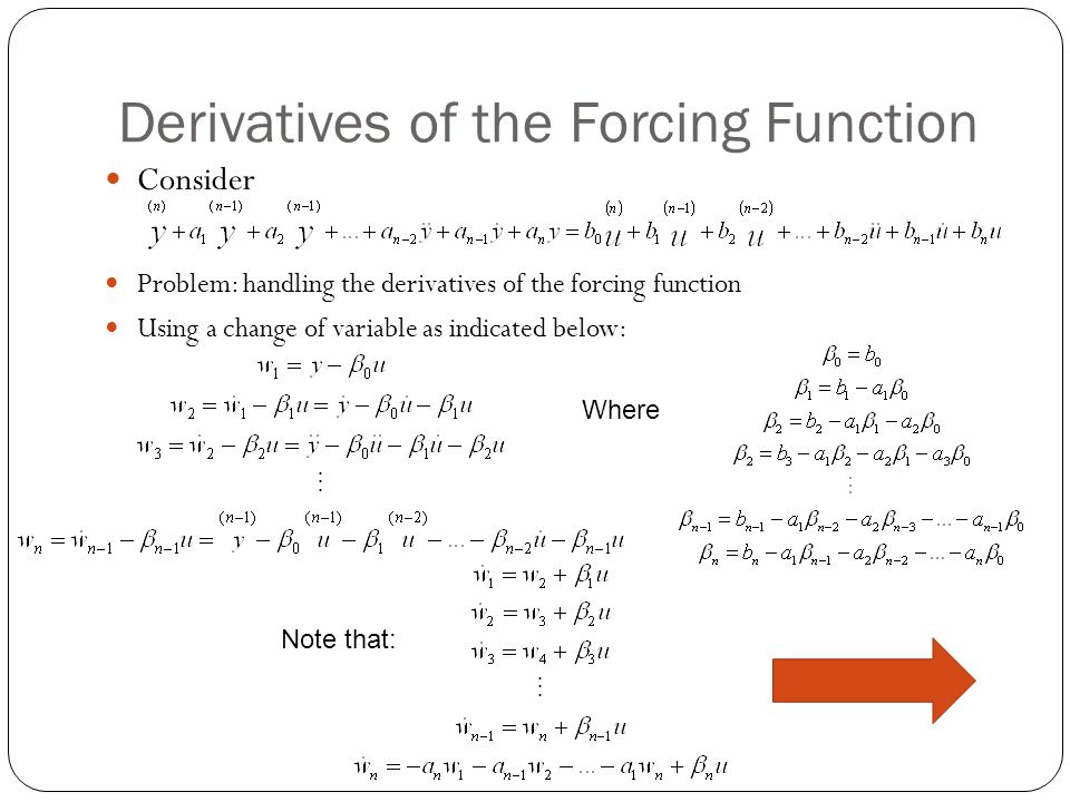 Derivatives of the Forcing Function Consider Problem: handling the derivatives of the forcing function Using a change of variable as indicated below: Where Note that: