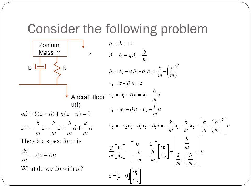Consider the following problem Zonium Mass m z kb Aircraft floor u(t)