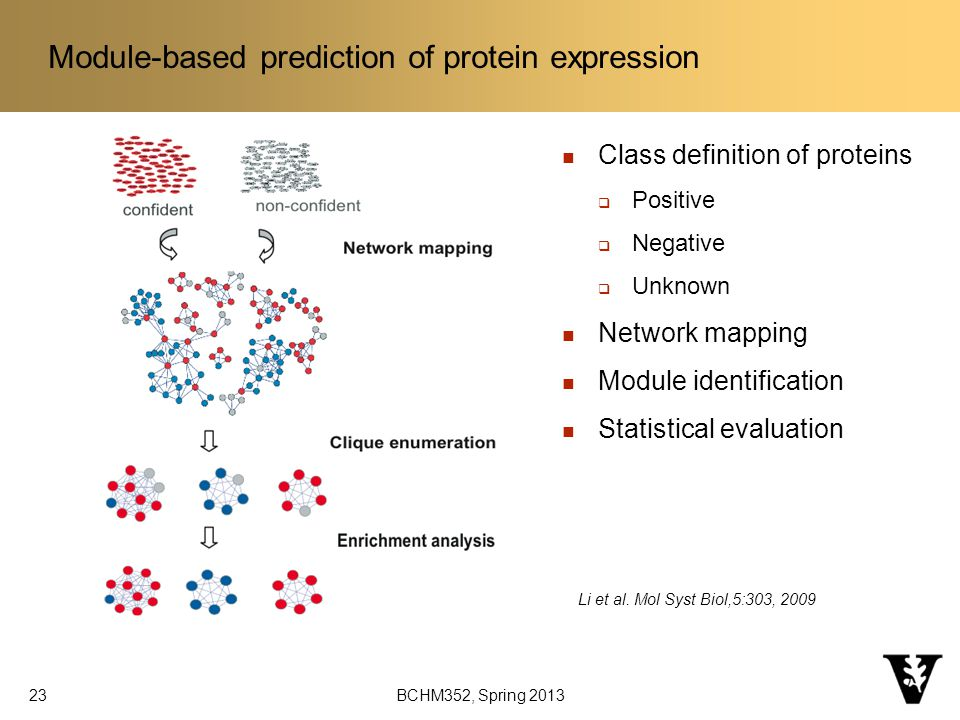 Module-based prediction of protein expression 23 BCHM352, Spring 2013 Li et al.