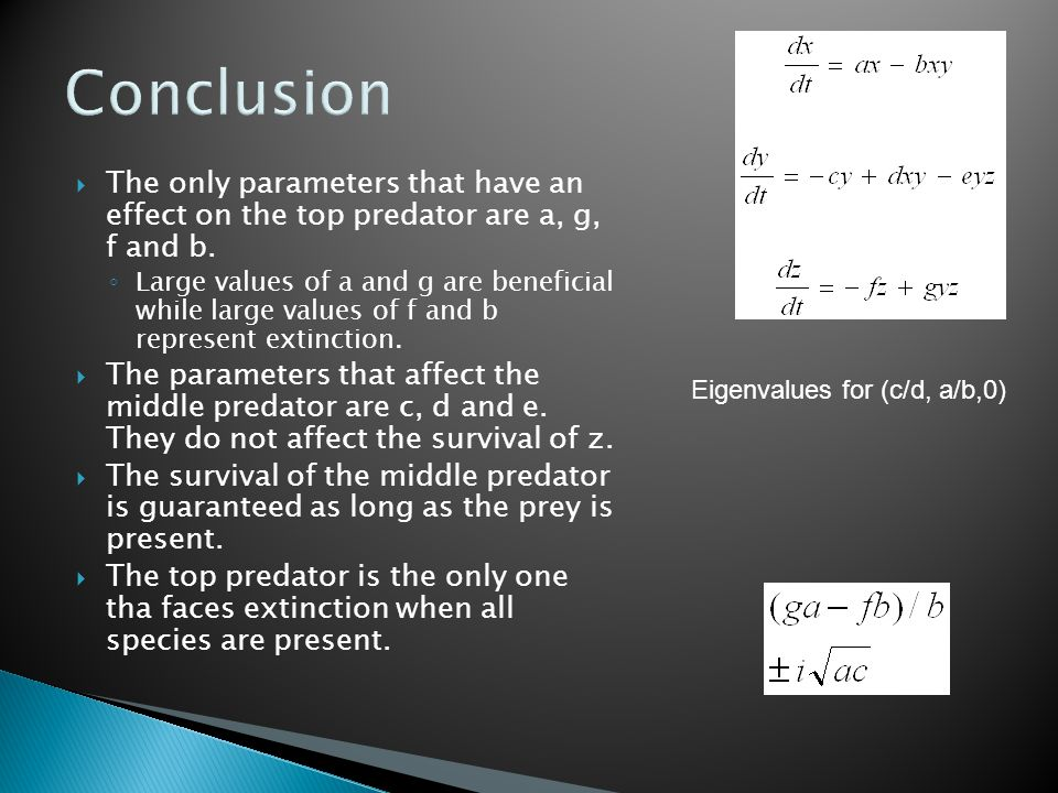 Conclusion  The only parameters that have an effect on the top predator are a, g, f and b.