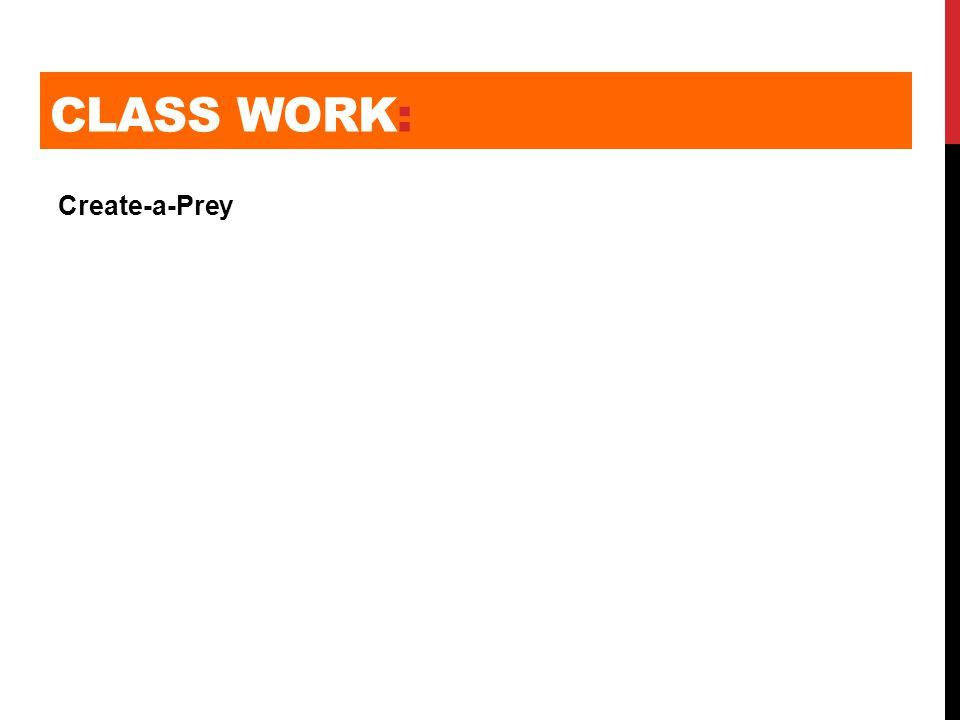CLASS WORK: Create-a-Prey