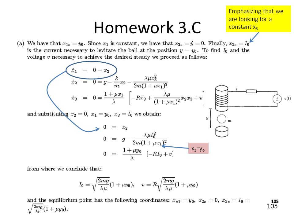 105 Homework 3.C Emphasizing that we are looking for a constant x 3 x 1 =y o