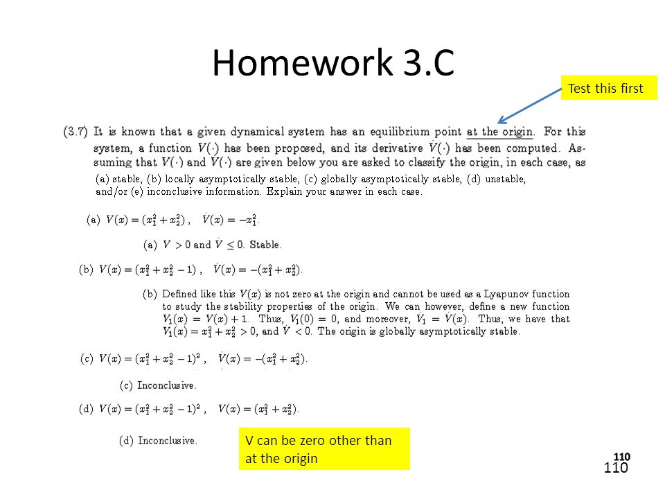 110 Homework 3.C Test this first V can be zero other than at the origin