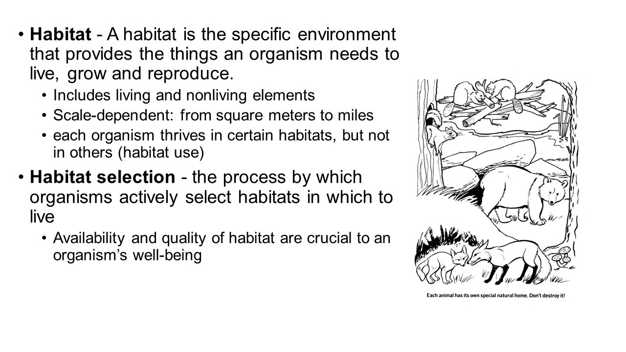 Habitat - A habitat is the specific environment that provides the things an organism needs to live, grow and reproduce. Includes living and nonliving