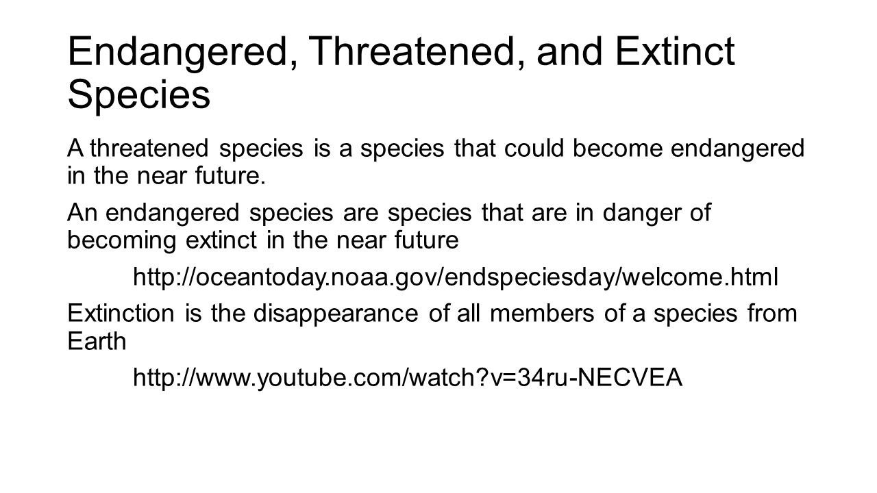 Endangered, Threatened, and Extinct Species A threatened species is a species that could become endangered in the near future. An endangered species a