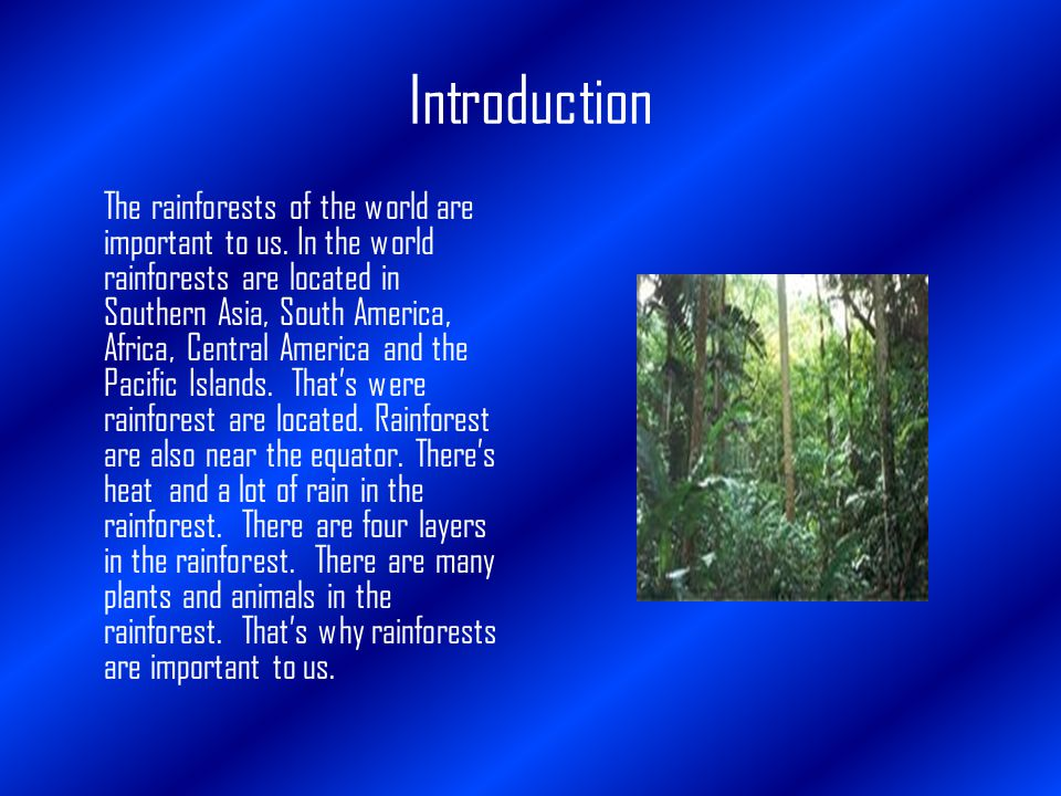Introduction The rainforests of the world are important to us.