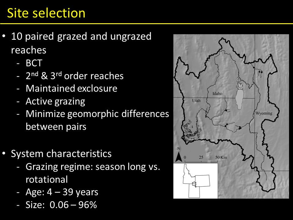 Site selection 10 paired grazed and ungrazed reaches -BCT -2 nd & 3 rd order reaches -Maintained exclosure -Active grazing -Minimize geomorphic differences between pairs System characteristics -Grazing regime: season long vs.