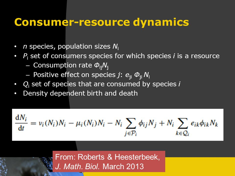 Consumer-resource dynamics n species, population sizes N i P i set of consumers species for which species i is a resource – Consumption rate Φ ij N j – Positive effect on species j: e ji Φ ji N i Q i set of species that are consumed by species i Density dependent birth and death From: Roberts & Heesterbeek, J.