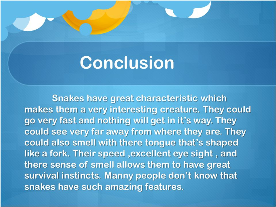 Conclusion Snakes have great characteristic which makes them a very interesting creature. They could go very fast and nothing will get in it's way. Th