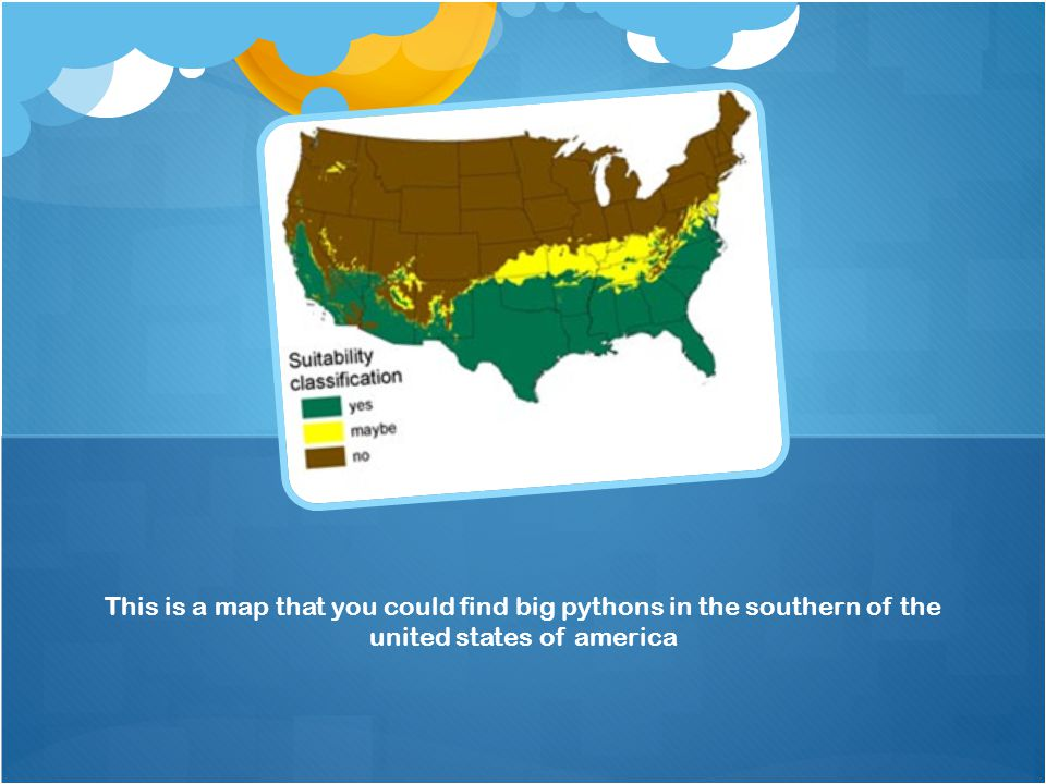 This is a map that you could find big pythons in the southern of the united states of america