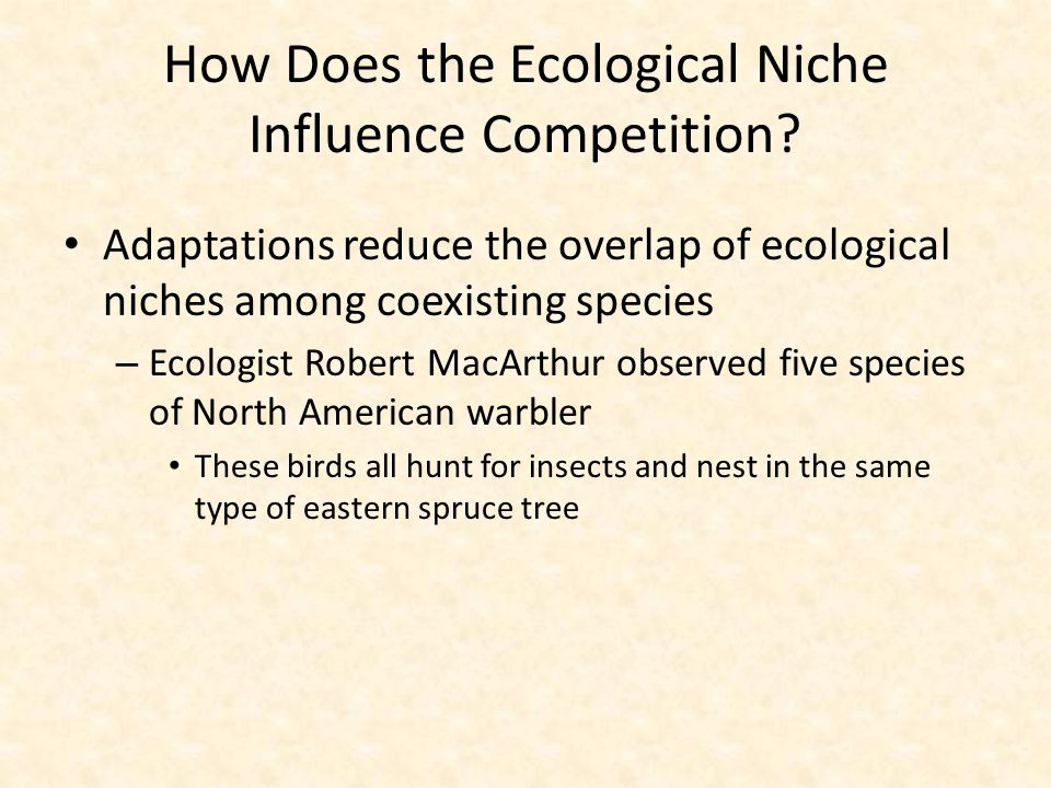 How Does the Ecological Niche Influence Competition? Adaptations reduce the overlap of ecological niches among coexisting species – Ecologist Robert M